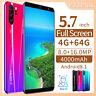 "5.7"" Unlocked Smart Phones Android 8.1  Dual SIM Mobile 4G+64G Smartphone Wifi"