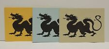 Vintage Set of 3- 1983 DRAGON Blank Note Cards - 3 Colors - N. Foster Artist
