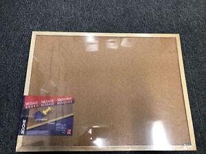 "Boone Message Board 22.5"" x 16.4"" Cork Bulletin Board with Oak Finish Frame NWT"