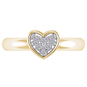 Diamond 10K Yellow Gold Finish Cluster Heart Adjustable Fashion Toe Ring