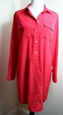 S GAP WOMEN'S ZIG ZAG PINK RED PRINT LONG SLEEVE SHIRT DRESS TUNIC NWT SZ MEDIUM