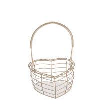 Wire Egg Basket Cream Metal Heart Shaped Holder Shabby Kitchen Storage Chic Gift