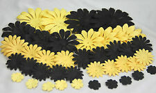 44 Quality Mulberry Paper Petals in 5 Sizes - Black and Yellow