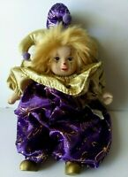 "Sweet Vintage 8"" Porcelain Harlequin Clown Doll Jester Purple Gold Mardi Gras <3"
