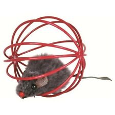 Set Of 4 Plush Fur Mice In A Wire Balls, Ø 6cm Cat Toy (red, Purple, Yellow -