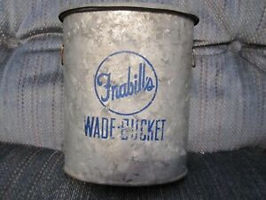"""VINTAGE GALVANIZED FISHING """"WADE IN MINNOW BUCKET BAIT CAN"""" - FRABILL'S"""