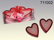 CANDELE CUORE IN VETRO 2 CONFEZIONI Party Festa San Valentino Amore Love 711002