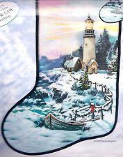 """Candamar """"Christmas Cove"""" Lighthouse Embellished Cross Stitch Stocking Kit 51213"""