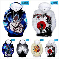 US Dragon Ball Z Goku Vegeta Gohan Super Saiyan Hoodie 3D Print Pullover Sweater