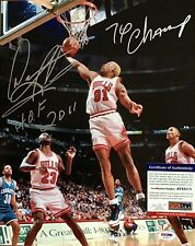 NBA BULLS DENNIS RODMAN 11x14 AUTO MULTI INSCRIBED RARE SILVER INK PSA DNA COA