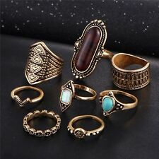8pcs/Set Boho Beach Ring Sets Vintage Turkish Crystal Silver Knuckle Rings Gift