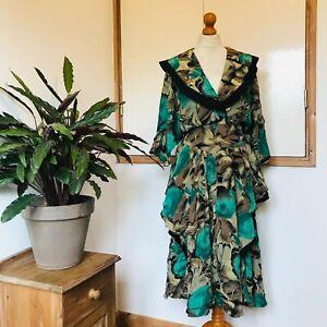 Vtg 80s Green Black Gold Abstract Print Shawl Collar Frilled Layered Dress 12 14
