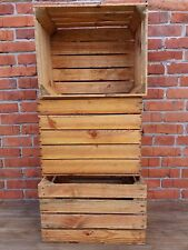 3 vintage strong & solid wooden apple crates boxes home decor -  Ground Cleaned