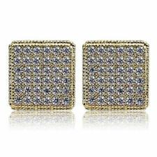 14K Gold Plated Crystal Square Screw Back Stud Earrings