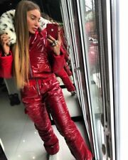 Winter Ski Suit Women Men Patent Shiny Glossy Wet Look Outwear Outfit Glanznylon