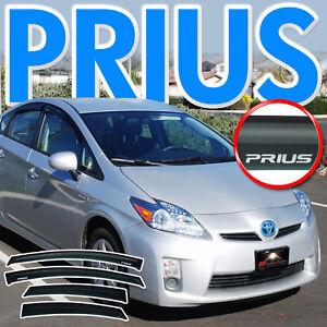 2010-2015 Prius Side Window Deflectors Rain Visors Sun Vent Shade Guard w/ Logo