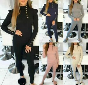 Womens Gold Button Loungewear Suit Ladies Frill Ruffle Ribbed Knit Tracksuit Set