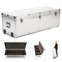 Aluminium Flight Case Box Wheels Storage Trolly Padded Lighting DJ 100x37x34cm