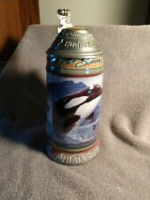 Budweiser Beer Stein Animals Of The Seven Continents Antarctica Penguin Whale.
