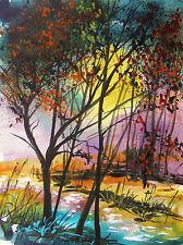 ORIGINAL sale  Landscape WATERCOLOR Painting JMW art John Williams Expressionism