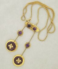 Antique French 18K Gold Amethyst Pearl Double Pendulum Negligee Necklace