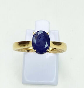 Sapphire Solitaire Gemstone Ring, Size T, US 9.5, Gold Plated Sterling Silver