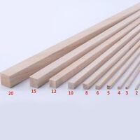 20Pcs Square Wood Stick Paulownia Rod Strip Model DIY Craft Making Kids 2mm-30mm