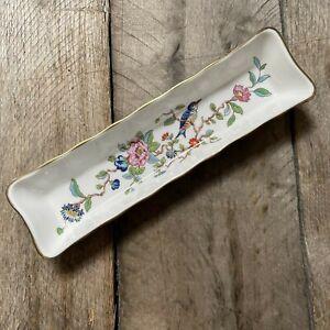 Aynsley England Fine Bone China Pembroke Bird Floral Gold Trim Mint / Olive Tray