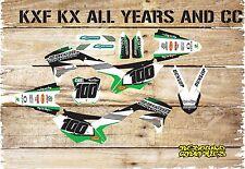KAWASAKI KX KXF 65 85 125 250 450 Kit completo de gráficos Kit de Pegatinas - - Verde-Motocross 1