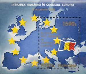 ROMANIA RUMÄNIEN 1993 Block 285 Aufnahme RO Europarat Karte Mitteleuropa Map MNH