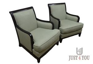Pair Baker Milling Road Upholstered Club Arm Chairs