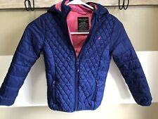 Girls Lightweight Jacket Nautica Size 6 Blue Pink Zip Up Hooded Coat