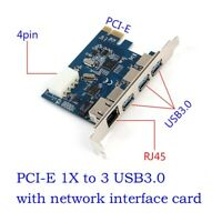 PCI-E to External 3-Port USB 3.0&Gigabit Ethernet Card Adapter Converter For PC
