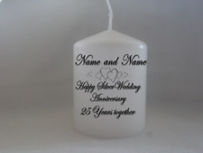 Unique Personalised Silver Wedding Anniversary 25th Anniversary Candle Gift