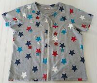 Quacker Factory Large Zip Front Short Sleeve Shirt Patriotic Stars Sequins Gray