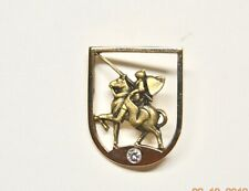10k Yellow Gold Pin Medieval Jousting Armoured Knight Soldier & Horse & Diamond