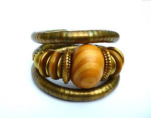 Armreif wunderschönes großes Armband  Metall, schöne Holz Perlen Sommer Design