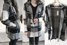 LADIES Checked Longline Knit Cardigan Jacket Black Grey White Pockets 6 8 S M