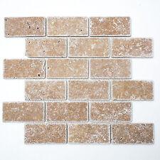 Mosaikmatte Mosaikfliesen Mosaik Brick Inula Noce Antique Travertine 305x305 mm