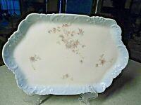 Hand Painted Porcelain Dresser Tray Limoges France Blue Border Floral Handles