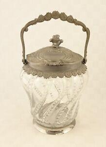 Art Deco Kristallglas mit Metallmontierung Keksdose / Bonboniere .. 4202a