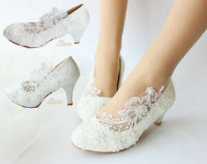 "Elegant WHITE/IVORY Wedding Lace Prom Bridal Bridesmaid 2""cm/3""cm Heels shoes"