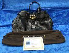 GUCCI Python Large GG Running Tote Black Python With Smooth Leather Trim