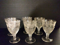 (6) Vintage Etched Crystal Wine Glasses, 8 oz