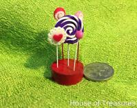 DOLLHOUSE MINIATURE FOOD ** RED, PURPLE+ PINK LOLLIPOP STAND ** for COLLECTORS.