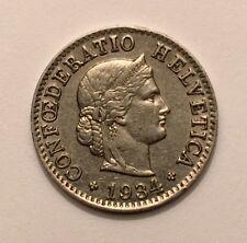 1934 B Switzerland 5 Rappen KM# 26b Nickel Coin AU 50-54
