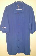 Duke Nike Dri-Fit Men's Short Sleeve Button Front Shirt, Blue, XL