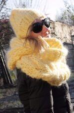 2 items Premium Mohair SCARF HOOP & HAT hand knit Yellow Jane Rodas