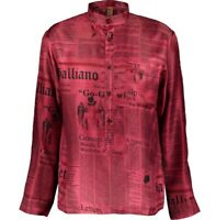 JOHN GALLIANO Designer Silk Iconic 'Gazette' Newspaper Print Shirt Size M