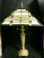 """Vintage Art Deco Style Brass & Stained Glass Double Table Lamp 30.5"""" x 18"""" Excel"""